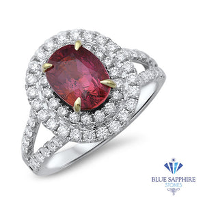 2.68ct Oval Ruby Ring with Double  Diamond Halo in 18K White Gold