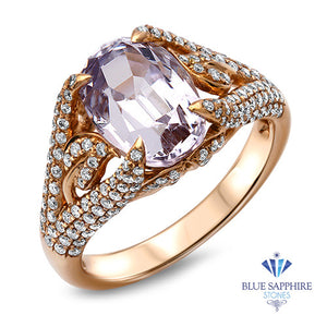 4.63ct Oval Spinel Ring with Diamond Accents in 18K Rose Gold