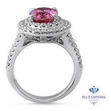 3.45ct Oval Pink Sapphire Ring with Double Diamond Halo in 18K White Gold