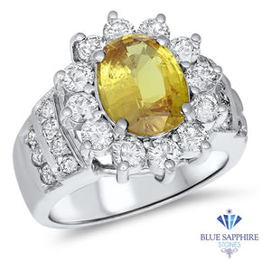 3.38ct Oval Yellow Sapphire Ring with Diamond Halo in 14K White Gold