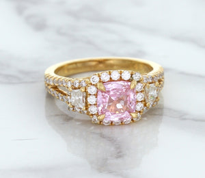 2.08ct Square Cushion Padparadscha Ring with Diamond Halo in 18K Rose Gold