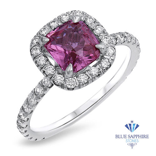 1.72ct Cushion Pink Sapphire Ring with Diamond Halo  in 18K White Gold