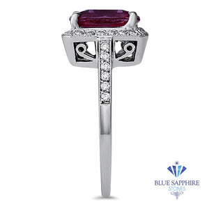 2.79ct Cushion Pink Sapphire Ring with Diamond Halo in 18K White Gold