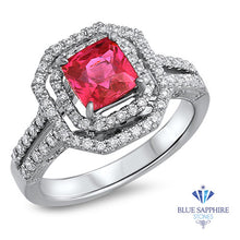 1.50ct Princess Pink Sapphire Ring with Double Diamond Halo in 14K White Gold