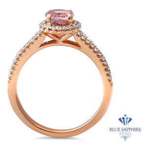 1.27ct Oval Pink Sapphire Ring with Diamond Halo in 18K Rose Gold