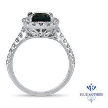 2.56ct Radiant Cut Unheated Green Sapphire Ring with Diamond Halo in 18K White Gold