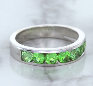 1.28ctw Round Demantoid Garnet Ring in 18K White Gold