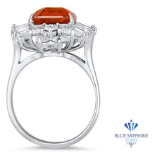 5.35ct GIA Certified Orange Sapphire Ring with Diamond Accents in 18K White Gold