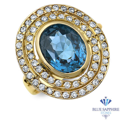 4.23ct Oval Blue Spinel Ring with Double Diamond Halo in 14K Yellow Gold
