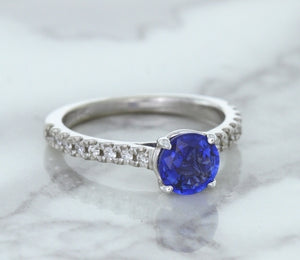 1.01ct Round Blue Sapphire Ring with Diamond Accents in 14K White Gold