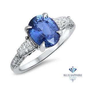 2.88ct Oval Blue Sapphire Ring with Diamond Accents in 18K White Gold