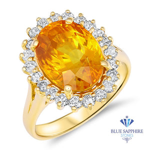 6.61ct Oval Orange Sapphire Ring with Diamond Halo in 14K Yellow Gold