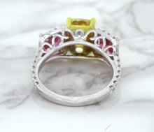 Multicolor Sapphire Ring with Diamond Accents in 18K White Gold