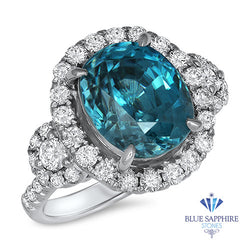10.15ct Oval Blue Zircon Ring with Diamond Halo in 18K White Gold