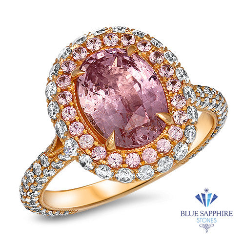3.11ct Oval Padparadscha Ring with Sapphire and Diamond Halo in 18K Rose Gold