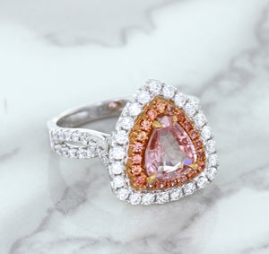 1.74ct GIA Certified Pear Shaped Padparadscha Ring with Sapphire and Diamond Halo in 18K White and Rose Gold