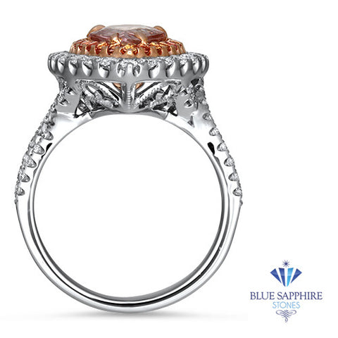 1.74ct Trillion Padparadscha Ring with Sapphire and Diamond Halo in 18K White and Rose Gold