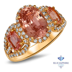 Three Stone Padparadscha Ring with Diamond Halo in 18K Rose Gold