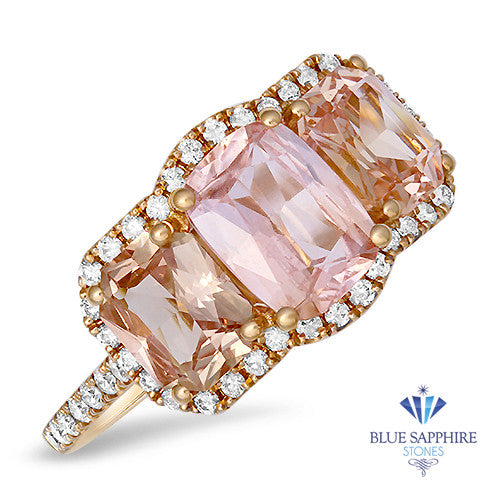 3.04ctw Three Stone Padparadscha Ring with Diamond Halo in 18K Rose Gold