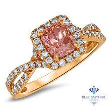 1.42ct Radiant Padparadscha Ring with Diamond Halo in 18K Rose Gold