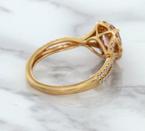 1.08ct Oval Padparadscha Ring with Diamond Halo in 18K Rose Gold