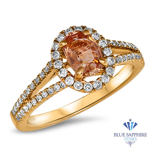 0.96ct Oval Padparadscha Ring with Diamond Halo in 18K Rose Gold
