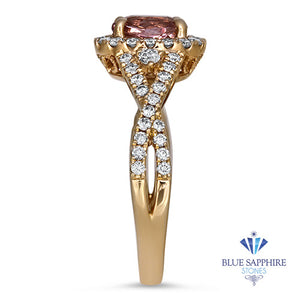 1.03ct Oval Padparadcha Ring with Diamond Halo in 18K Rose Gold