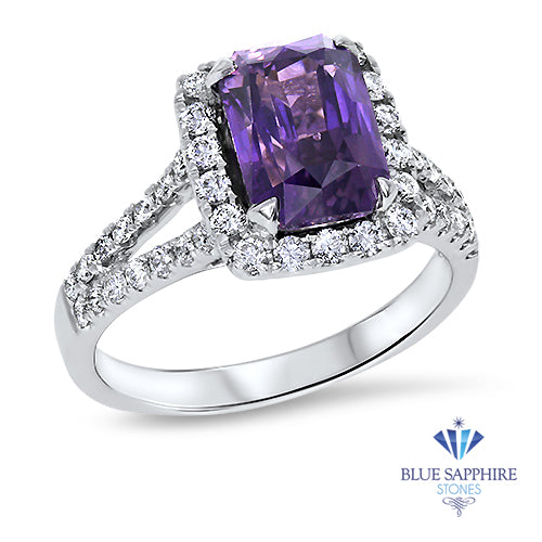 4.49ct Cushion Purple Sapphire Ring with Diamond Halo in 18K White Gold