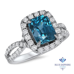 4.88ct Cushion Blue Zircon Ring with Diamond Halo in 18K White Gold