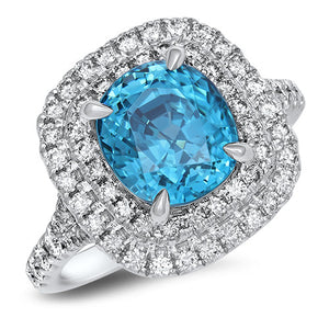 5.07ct Cushion Blue Zircon Ring with Double Diamond Halo in 18K White Gold