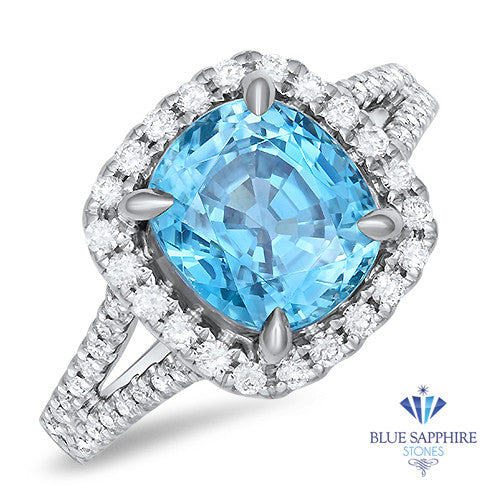 5.04ct. Cushion Zircon Ring with Diamond Halo in 18K White Gold