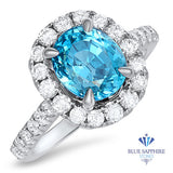 4.44ct. Oval Zircon Ring with Diamond Halo in 18K White Gold