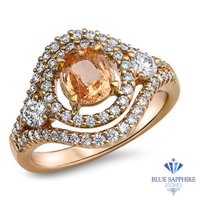 1.01ct Oval Padparadscha Ring with Double Diamond Halo in 18K Rose Gold