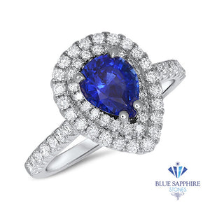 1.48ct Pear Blue Sapphire Ring with Double Diamond Halo in 18K White Gold