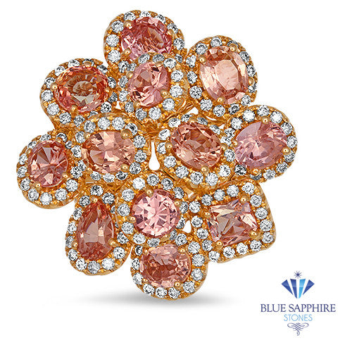 4.99ctw Floral Padparadscha Ring with Diamond Accents in 18K Rose Gold