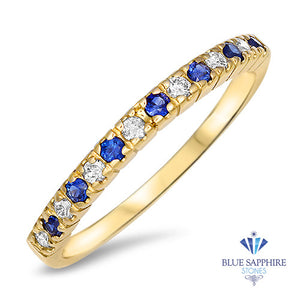 0.25ct. Round Blue Sapphire Ring with Diamond Halo in 14K Yellow Gold