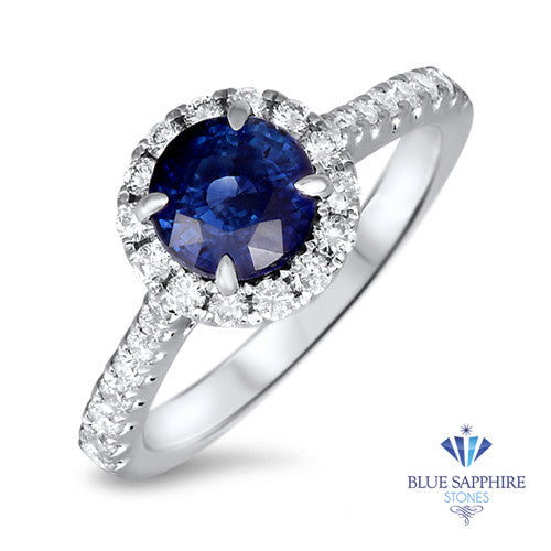 1.82ct Round Blue Sapphire Ring with Diamond Halo in 18K White Gold