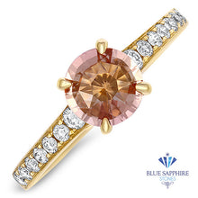 1.16ct Round Padparadscha Ring with Diamond Accents in 14K Yellow Gold