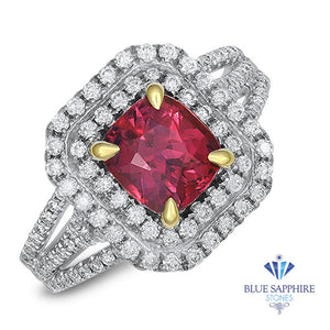 2.00ct Cushion Ruby Ring with Double Diamond Halo in 18K White Gold