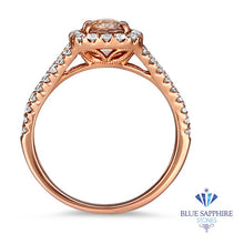 1.23ct. Cushion Padparadscha Ring with Diamond Halo in 18K Rose Gold