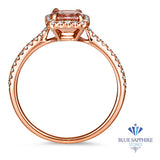 0.98ct. Radiant Peach Ring with Diamond Halo in 18K Rose Gold