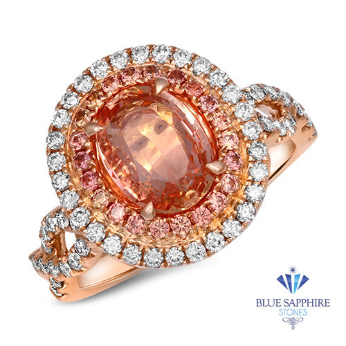 2.35ct. Oval Padparadscha Ring with Diamond Halo in 18K Rose Gold