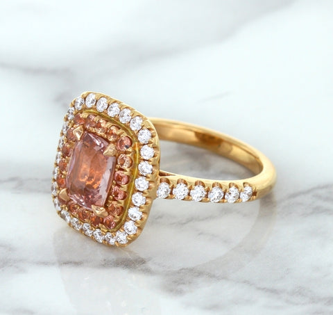 1.75ct. Cushion Padparadscha Ring with Sapphire and Diamond Halo in 18K Rose Gold