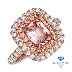 2.11ct. Cushion Padparadscha Ring with Diamond Halo in 18K Rose Gold
