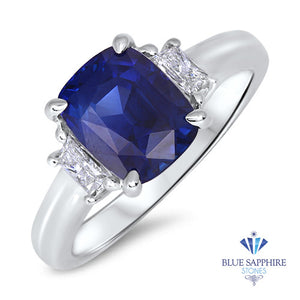 3.22ct. Cushion Blue Sapphire Ring with Diamond Halo in 18K White Gold