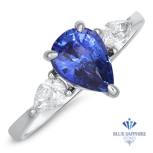 1.80ct. Pear Blue Sapphire Ring with Diamond Halo in 18K White Gold