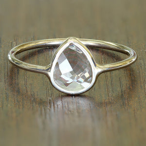 0.84ct. Pear White Sapphire Ring in 14K Yellow Gold