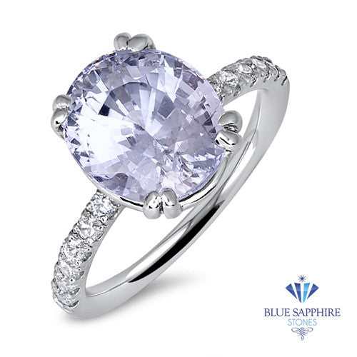 6.00ct. Oval Blue Sapphire Ring in 14K White Gold