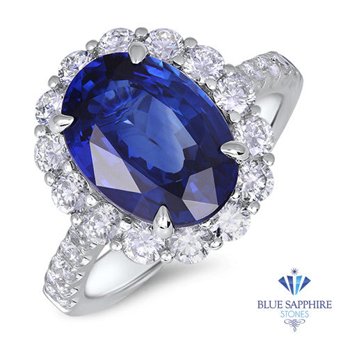 4.79ct. Oval Blue Sapphire Ring with Diamond Halo in 18K White Gold
