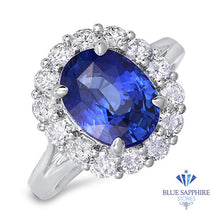 4.45ct. Oval Blue Sapphire Ring with Diamond Halo in 18K White Gold